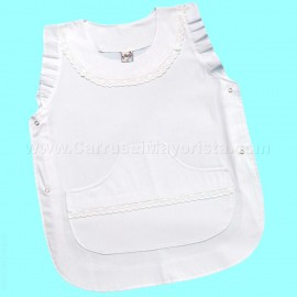 PONCHO BLANCO 2 BROCHES T 6-12 *BATU*